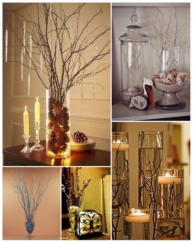 como decorar floreros con ramas secas