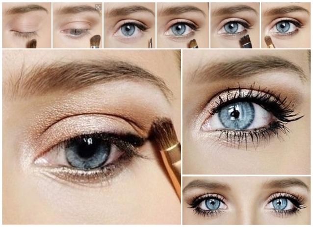 como maquillar ojos azules para la noche