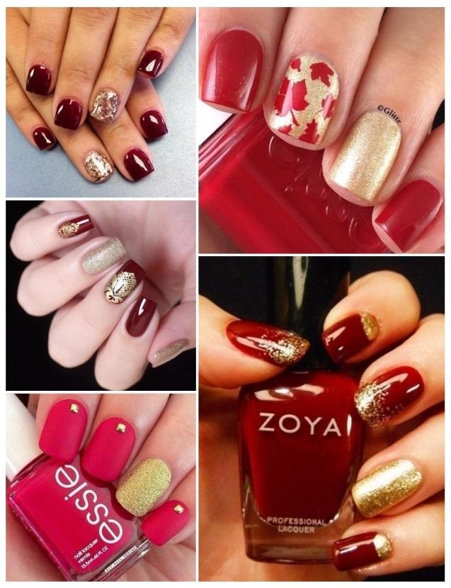 diseño de uñas doradas con rojo