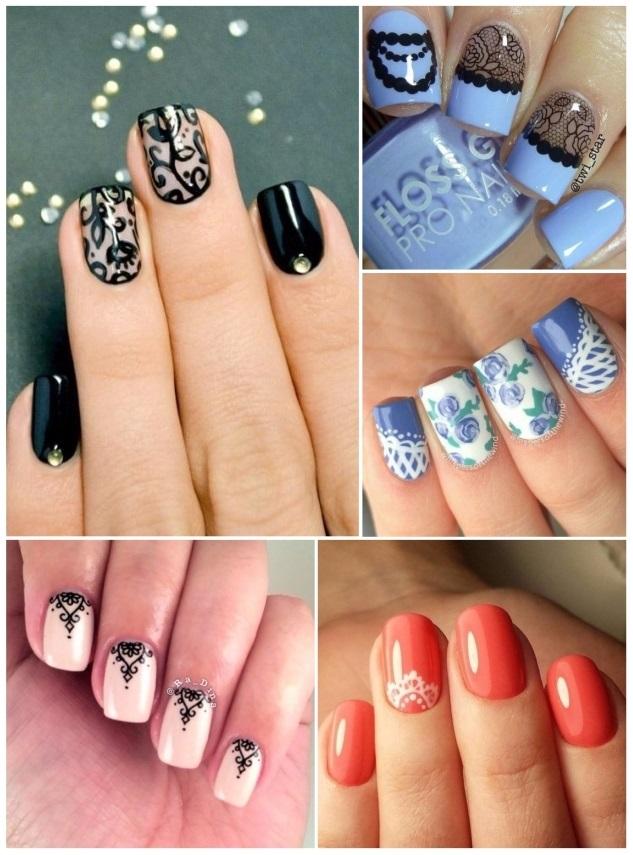 como hacer uñas con encaje