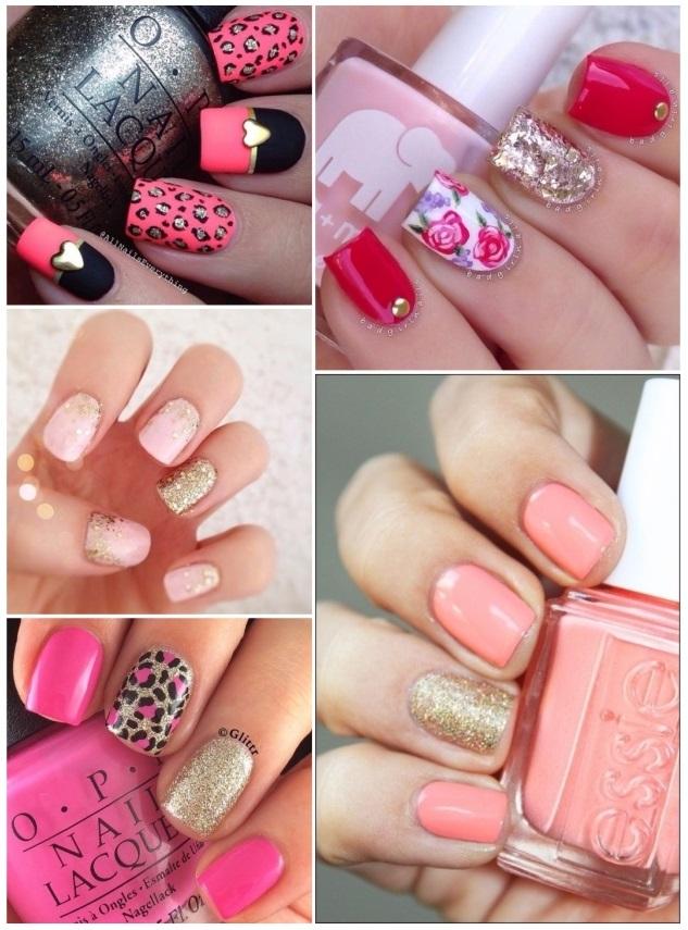 decoracion de uñas en tono rosa