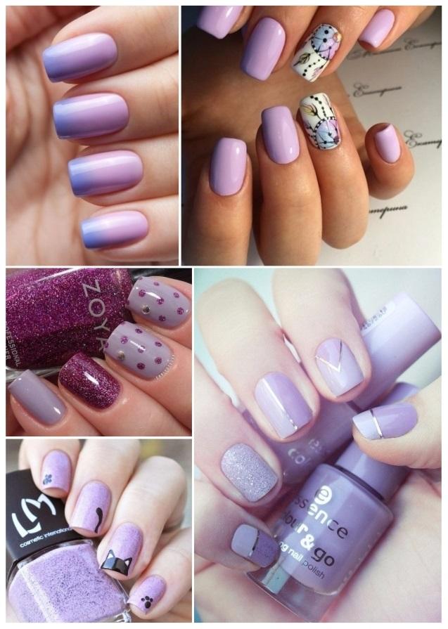 decoración de uñas moradas elegantes