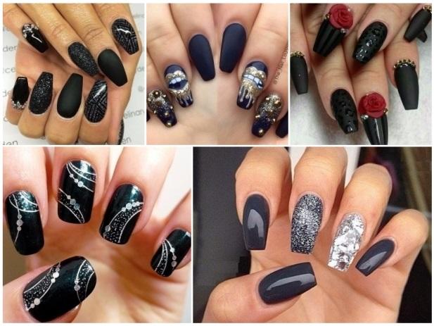 decoración de uñas negras 2015