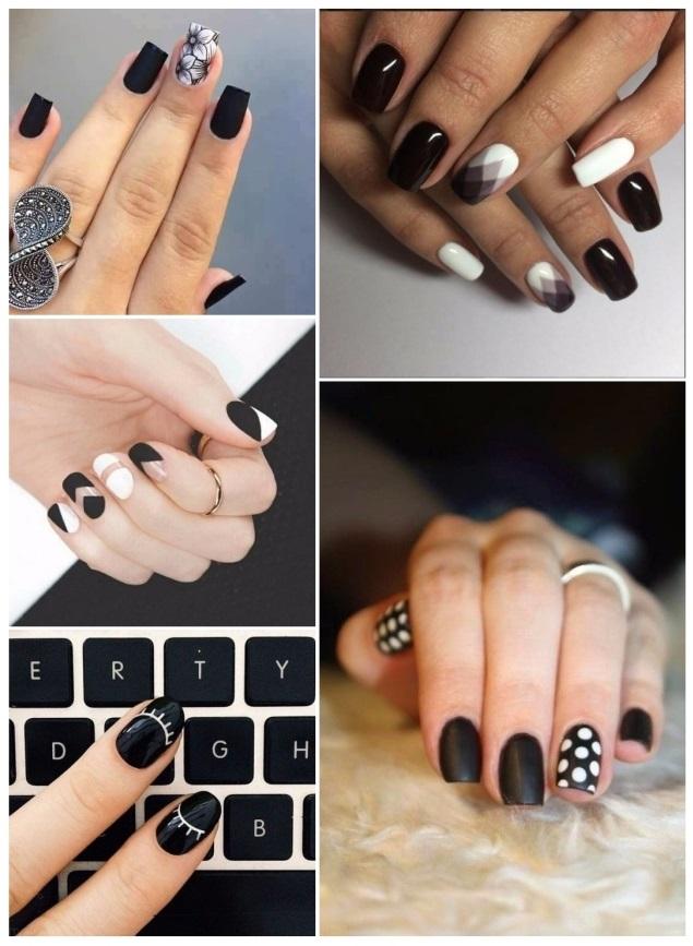 imagenes de decoración de uñas negras