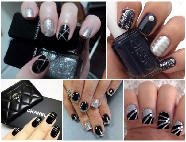 fotos de uñas negras con decoración