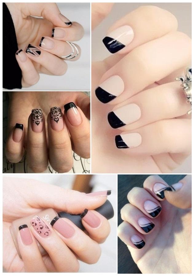 decoracion de uñas blancas y negras