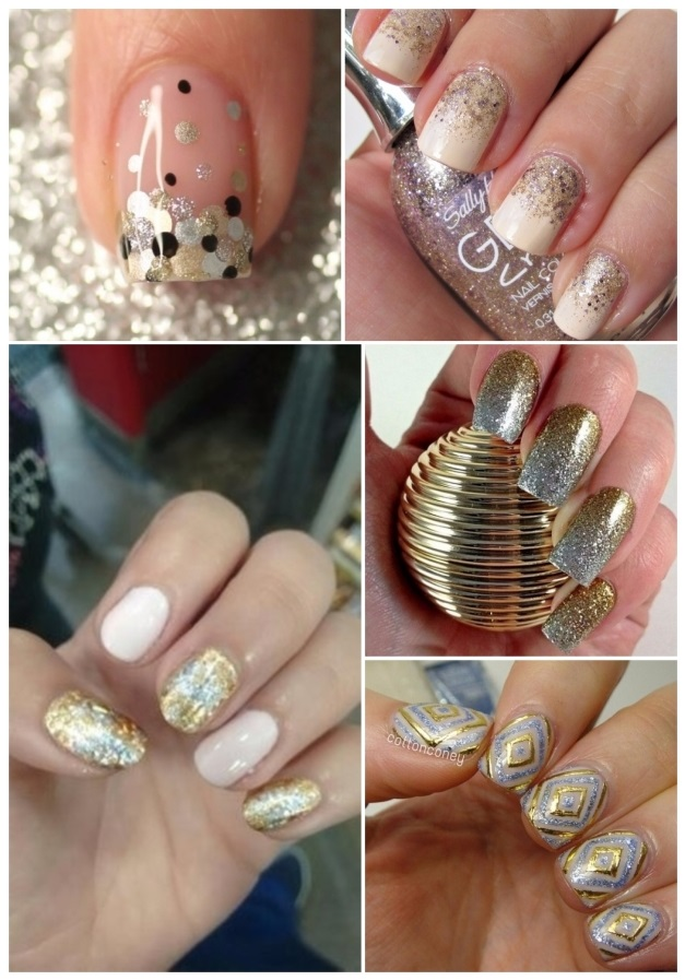 uñas decoradas en plata y dorado
