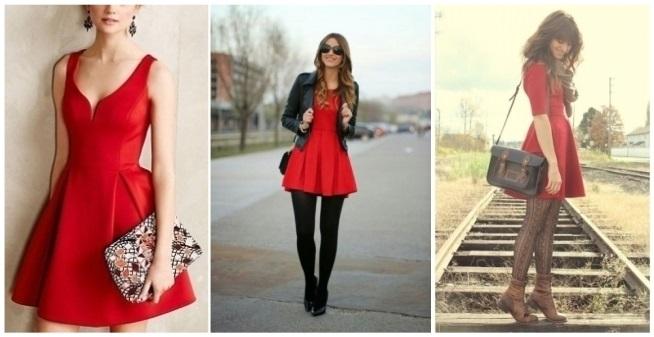 como combinar un vestido rojo vino