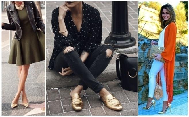 Vestido azul combina con zapatos dorados