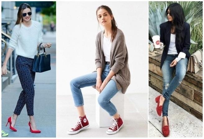Vestido azul cielo con zapatos rojos