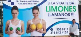 Polemica en Cali por valla publicitaria que idealiza tamaño de los senos.