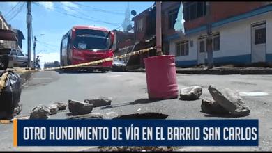 Photo of Encontramos otro peligroso hundimiento en la vía principal del barrio San Carlos