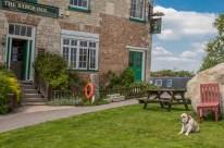 Buldog on guard at The Barge Inn.