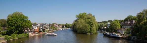 View north from Maidenhead Bridge shows one of the many islands along this stretch of the Thames.