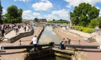 The lock in the park connecting the Stratford canal to the River Avon