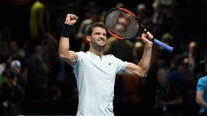 Dimitrov celebra su pase a semifinales en las Nitto ATP Finals