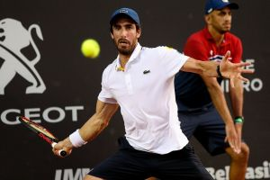 Pablo Cuevas celebra el triunfo con Uruguay en la Copa Davis