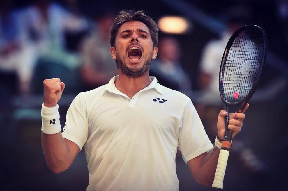 Stan Wawrinka celebra el triunfo ante Dimitrov en el debut de Wimbledon 2018