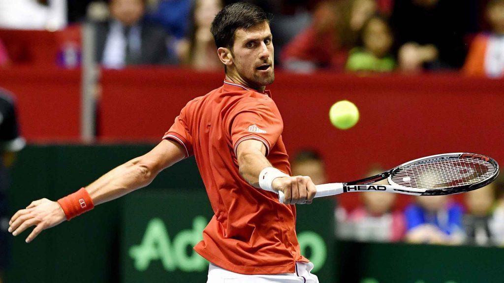 Novak Djokovic disputando la Copa Davis