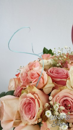 Canapes and Soirees Pink Rose Floral Arrangement Blue Straw