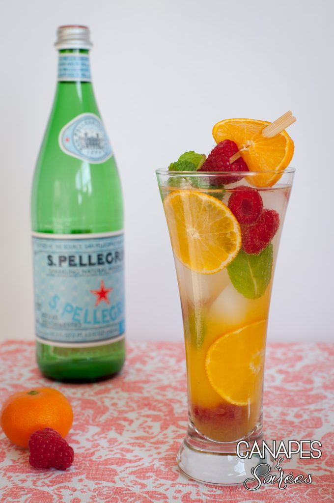 Canapes and Soirees Whole30 Orange Mint Raspberry Spritzer with San Pellegrino