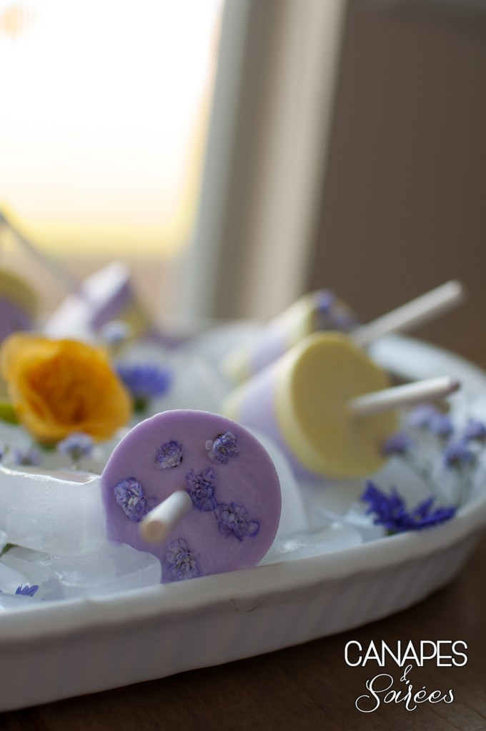 Purple topped Lemon Lavender Coconut Cream Popsicle