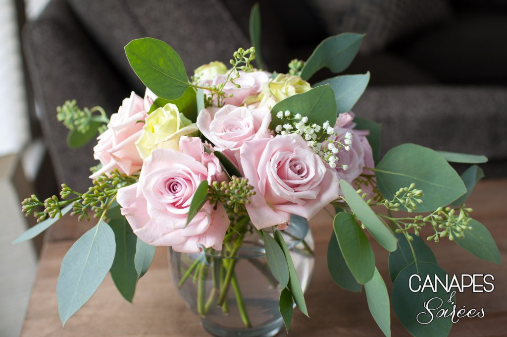 Pink Rose and Seeded Eucalyptus Arrangement