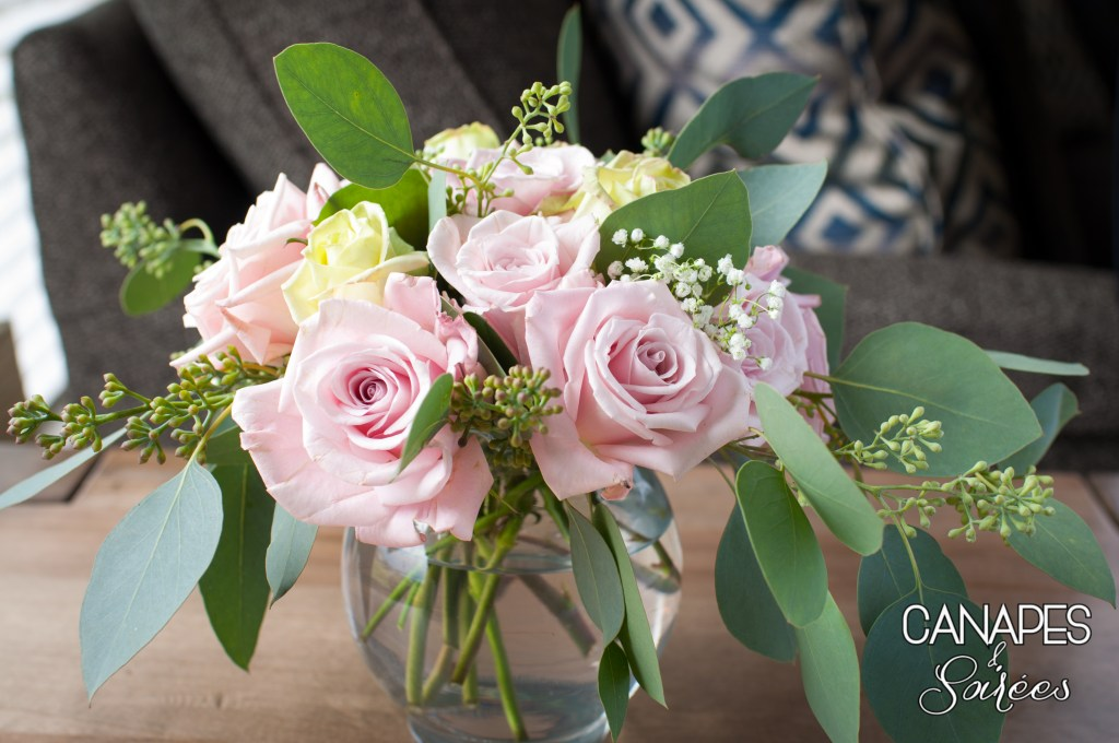 Rustic Pink Rose and Seeded Eucalyptus Floral Arrangement