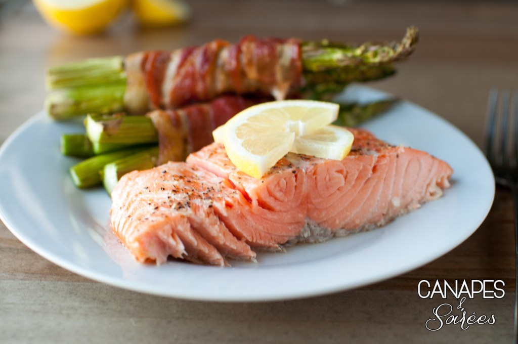 Simple Roasted Salmon with Bacon Wrapped Asparagus