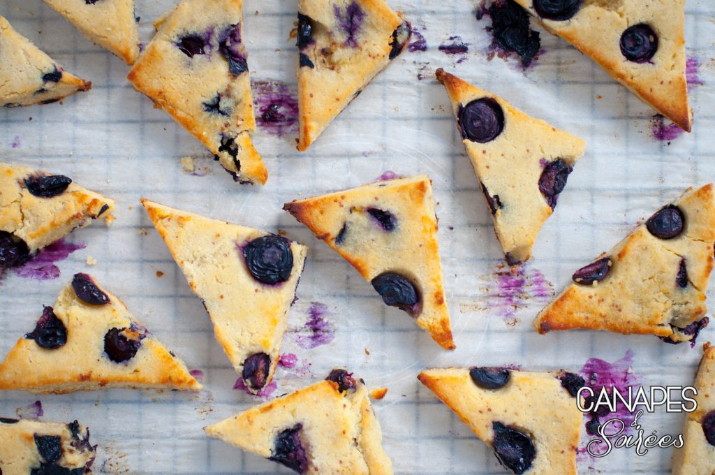 The Best Low Carb Blueberry Scones on a baking sheet