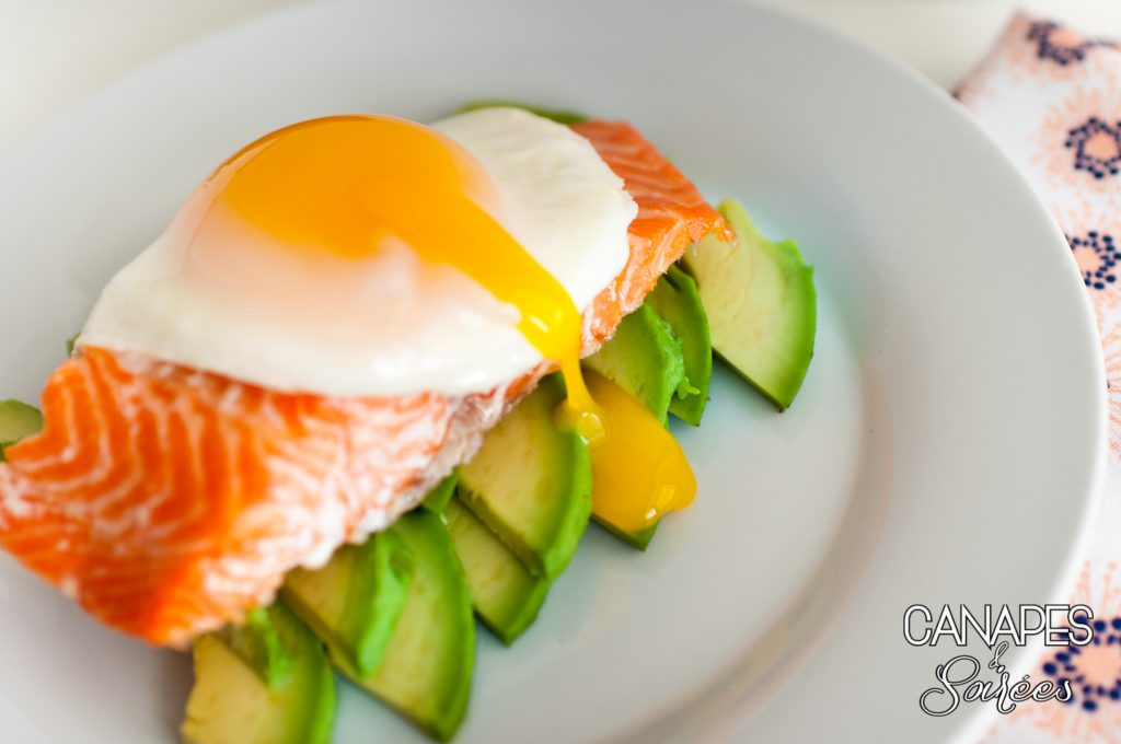 Whole30 Steelhead Trout Avocado Breakfast Stack with Runny Egg