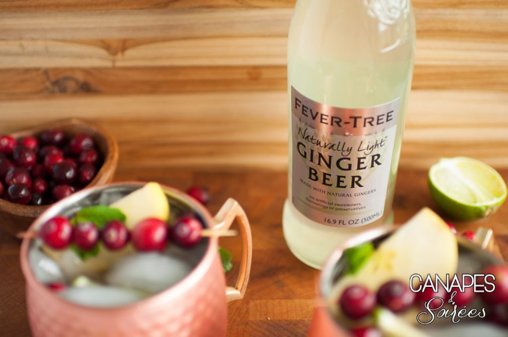 Cranberry Pomegranate Moscow Mules with Ginger Beer