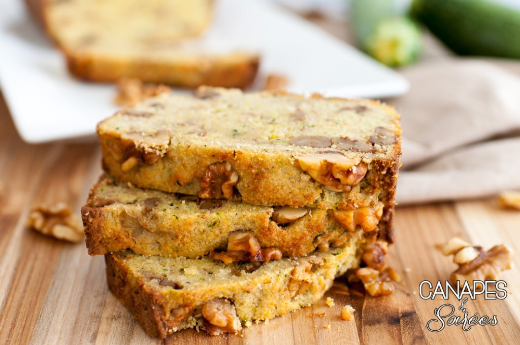 A stack of Zucchini Walnut Bread - Low Carb