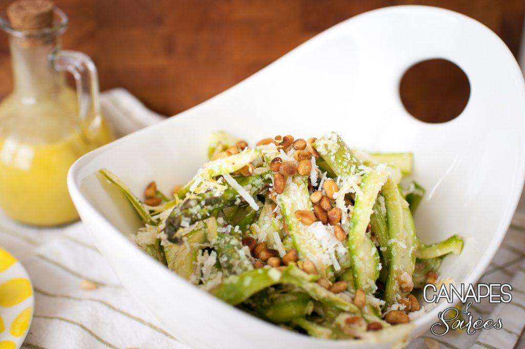 A bowl of shaved asparagus salad