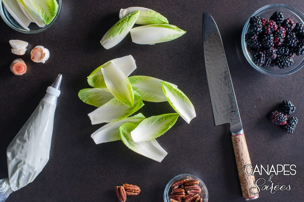Chopped endives and blue cheese in a piping bag