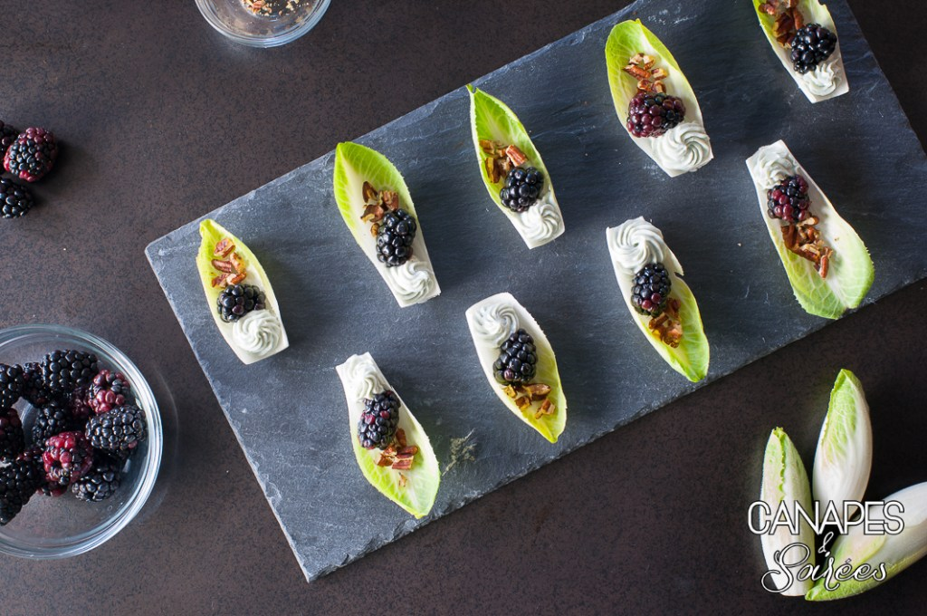 Plated Blackberry Blue Cheese Endive Boats