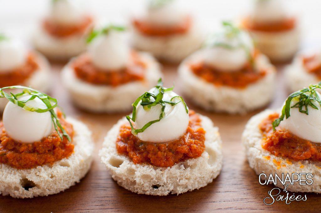 Tomato Basil Mozzarella Canapés on a platter