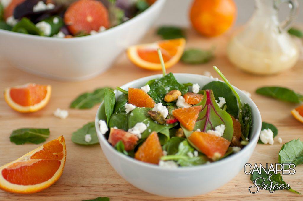 A bowl of Cara Cara Orange Feta Pistachio Salad