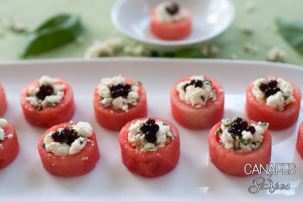 Watermelon Feta Balsamic Canapés