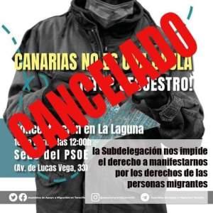 Ahora Canarias condena que la subdelegación del gobierno no permita la concentración convocada por la Asamblea de Apoyo a las Personas migrantes