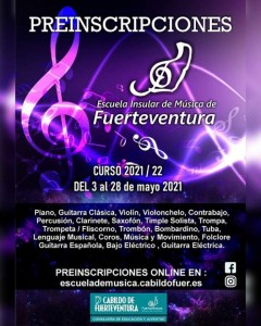 La Escuela Insular de Música de Fuerteventura recibirá las preinscripciones para el curso 2021/2022 hasta el 28 de mayo