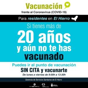 Los residentes en El Hierro mayores de 20 años sin vacunar pueden acudir sin cita al punto de vacunación insular
