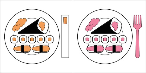 Comer Sushi con Palillos o Tenedor