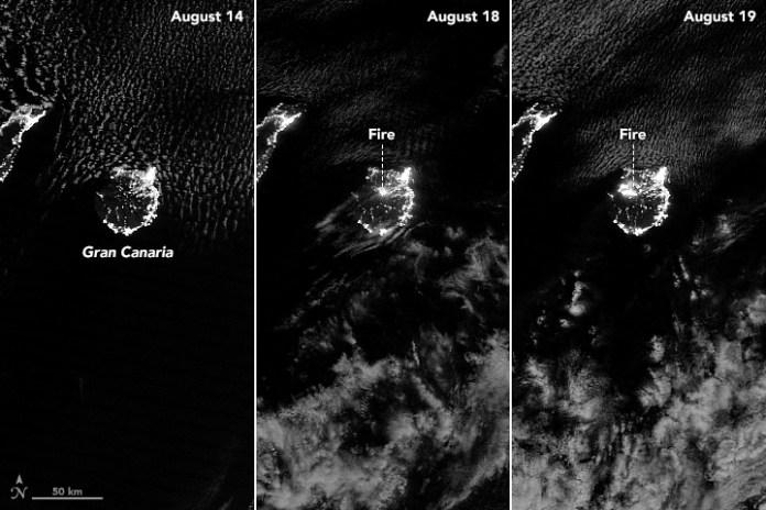 Imagenes Nocturnas desde NOAA Incendio Gran Canaria