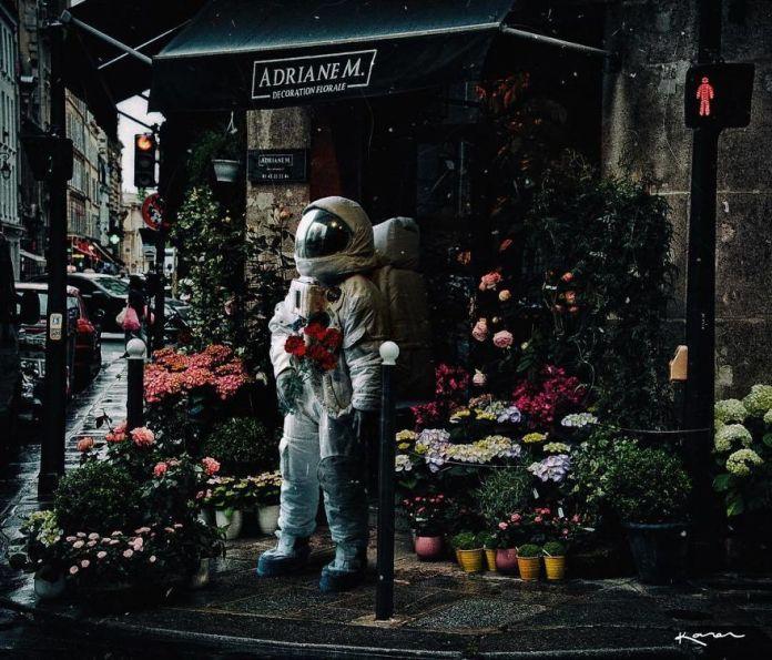 Astronauta en Floresteria