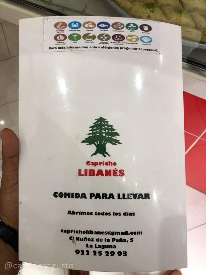 Carta de El Capricho Libanes en La Laguna