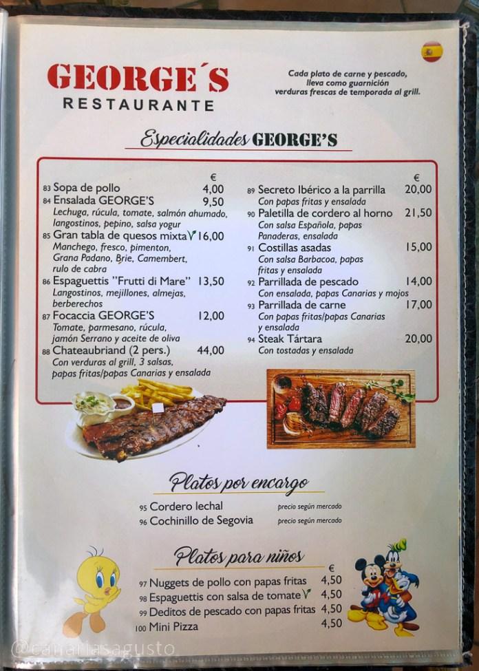 carta restaurante george's