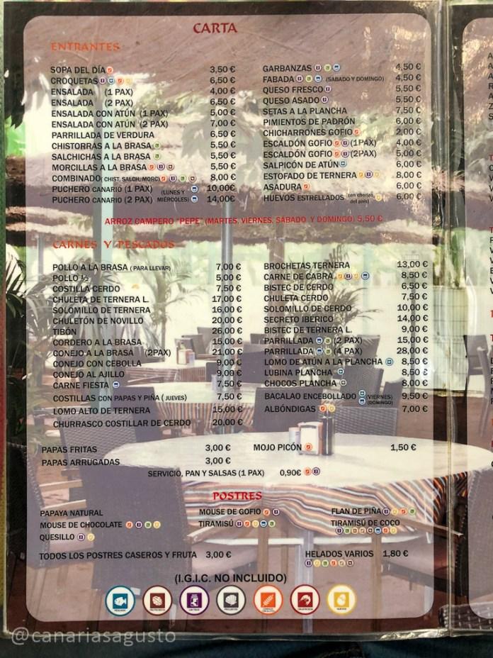 menu restaurante el corder tenerife