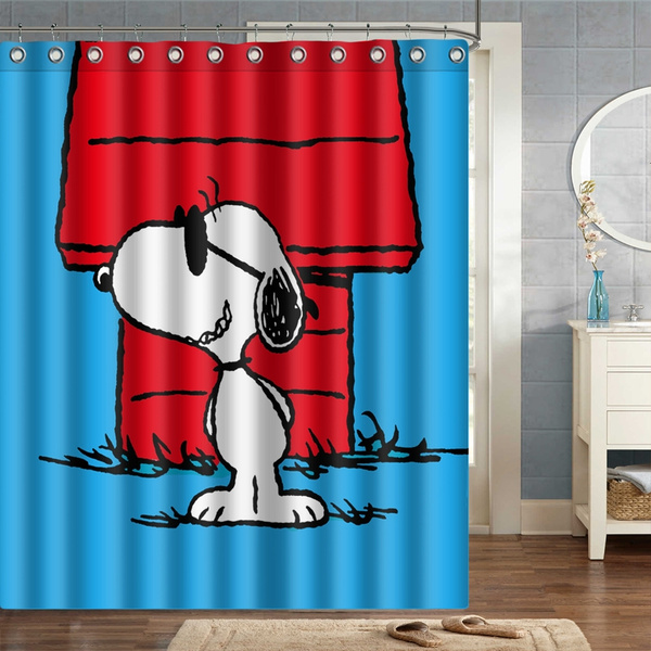 snoopy blue background shower curtain polyester fabric wish