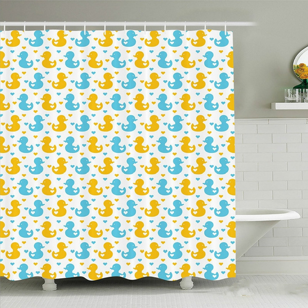 rubber duck shower curtain baby ducklings pattern with cute little hearts love animals print nursery room fabric bathroom decor set with hooks